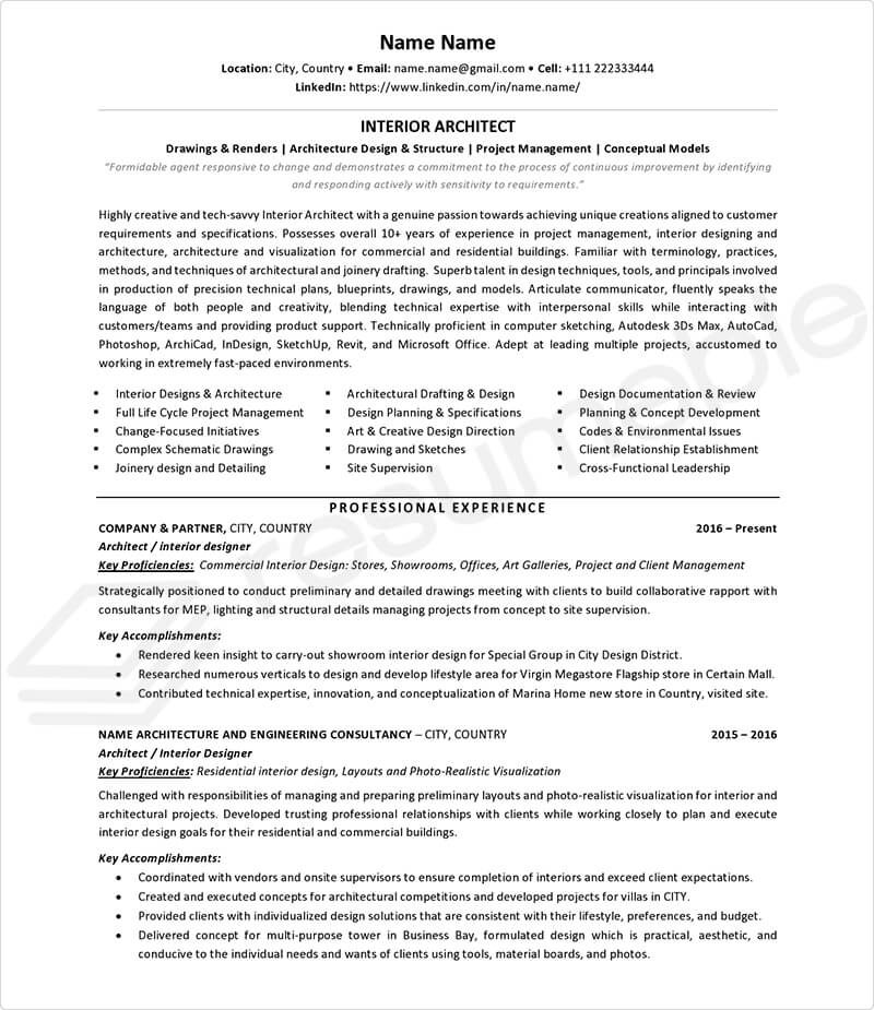 Sample Resumes for Architecture