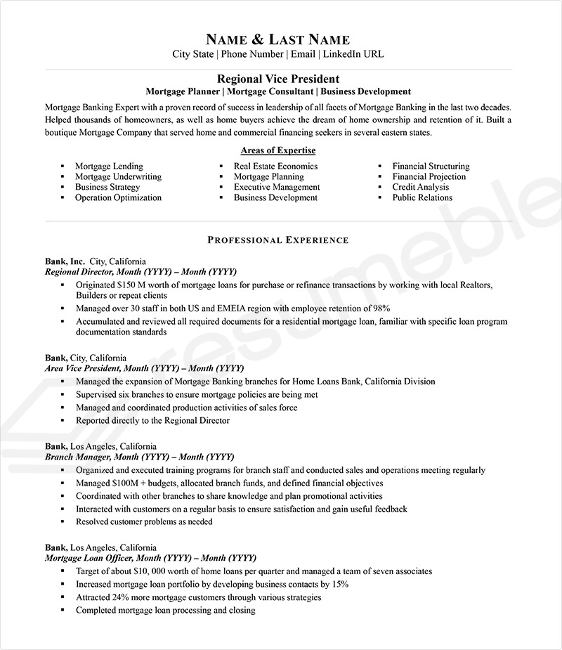 Sample Resumes for Banking