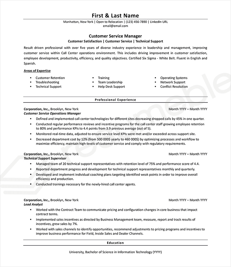 Sample Resumes for Customer Service