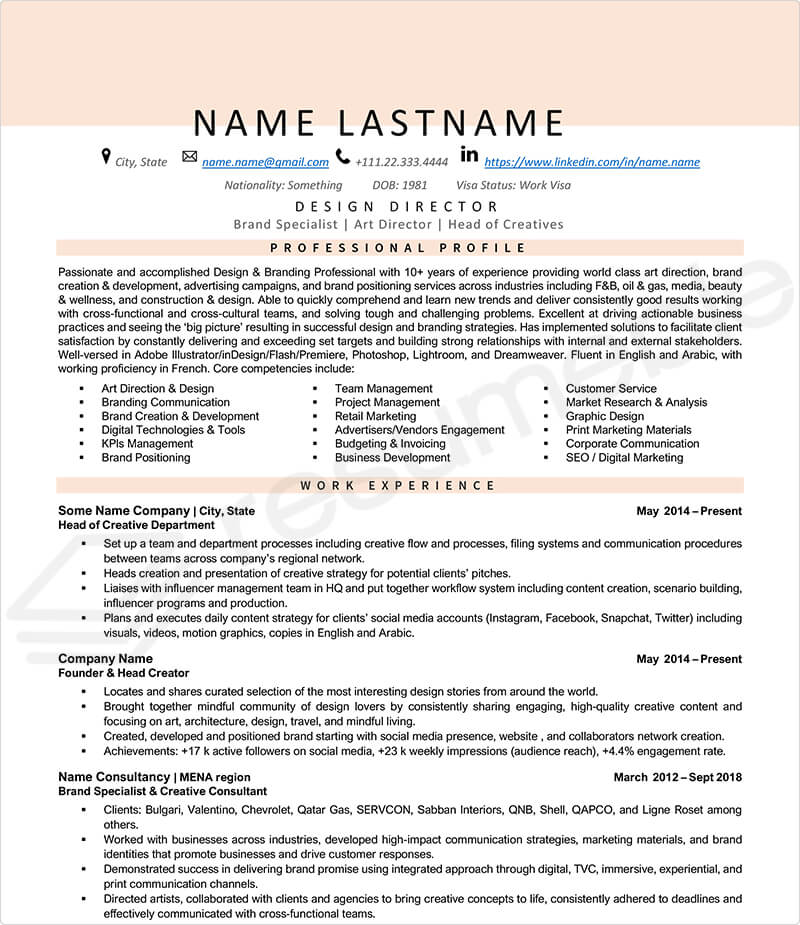 Sample Resumes for Design