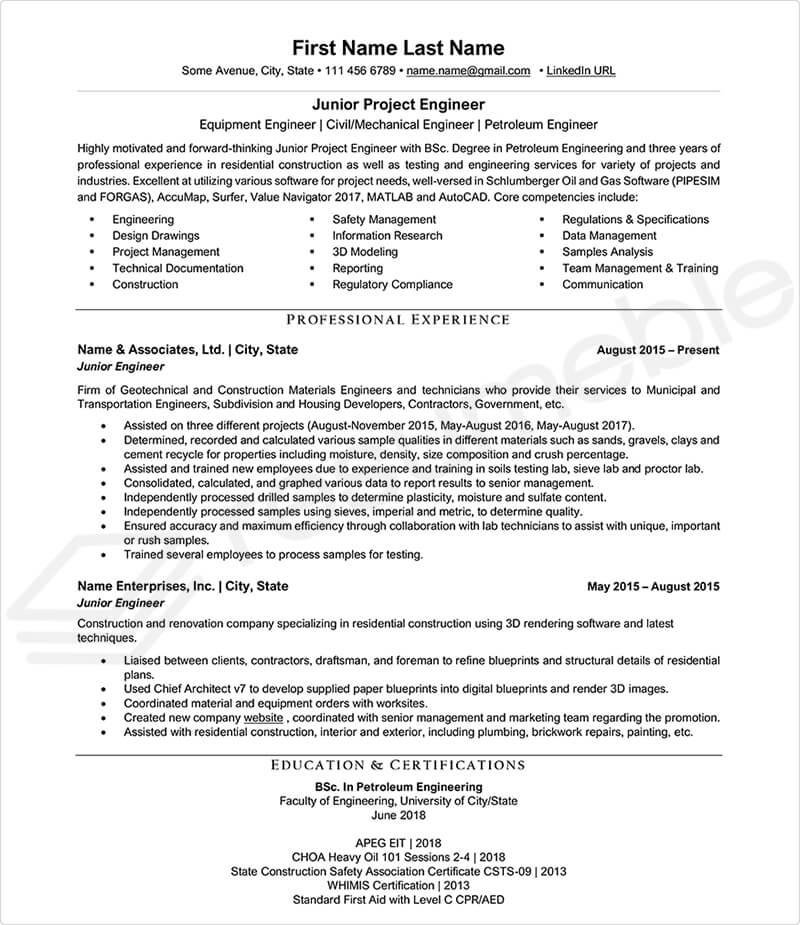 Sample Resumes for Engineering