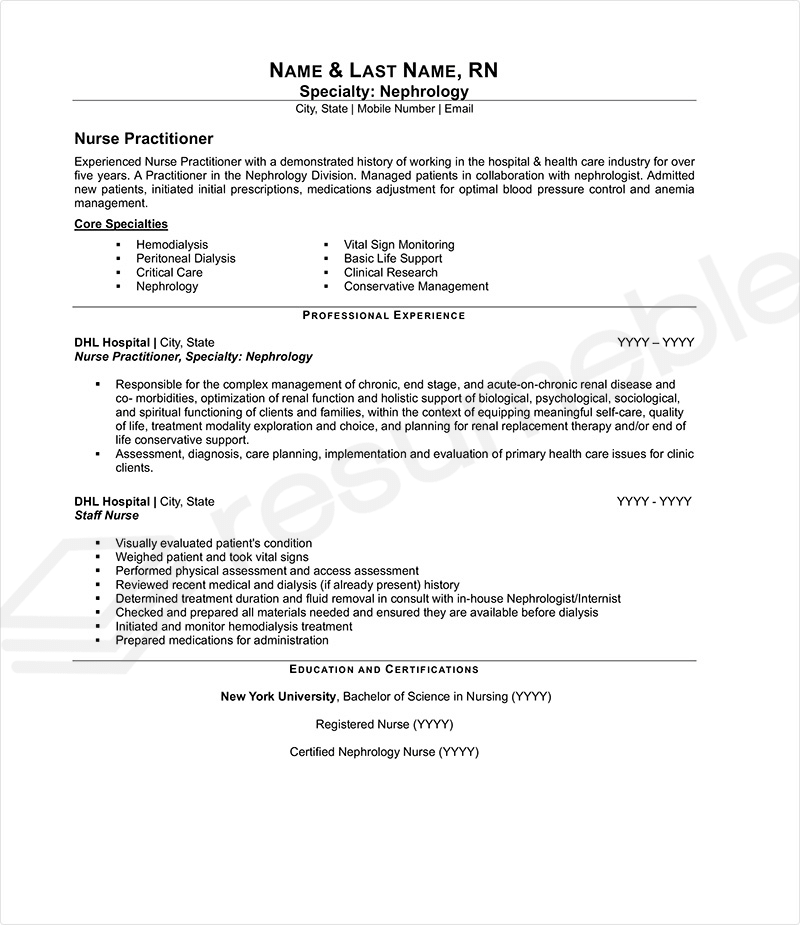 Sample Resumes for Nurse and Healtcare Professional