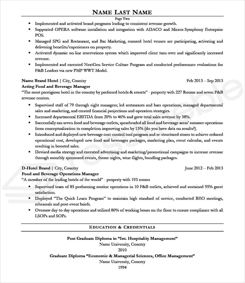 Sample Resumes for Hospitality