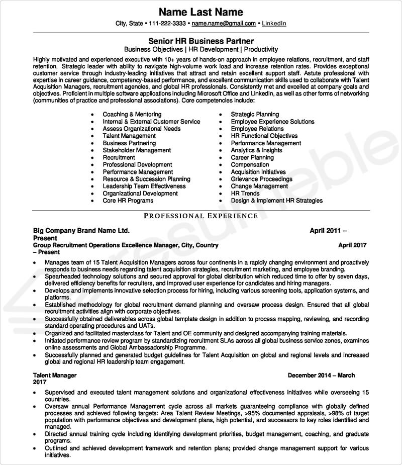 Sample Resumes for HR