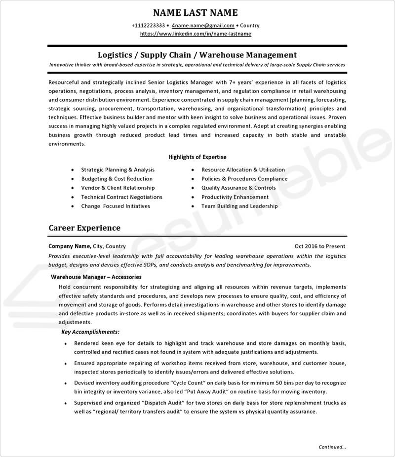 Sample Resumes for Logistics