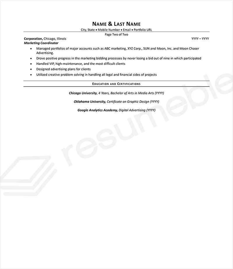 Sample Resumes for Advertising and Marketing