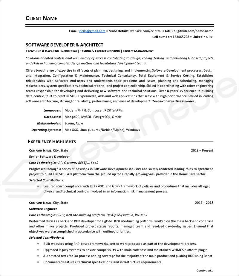 Sample Resumes for Software Development